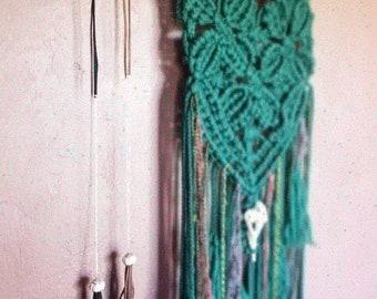 Boho Long Necklace - Tassel Necklace - Knobby Sea Urchin - Leather Necklace - Layered Necklace