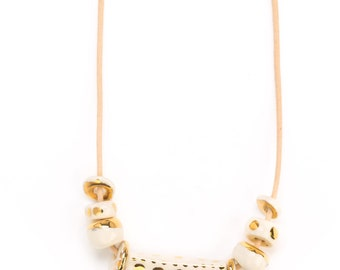 14K gold design ceramic necklace