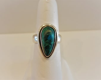 Vintage Sterling Silver Tear Drop Natural Turquoise Ring, Size 7.5, Gifts for Women