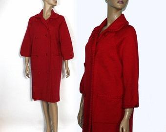 Vintage 1960s Coat// Red //Wool Coat // 60s coat// Big Pockets// Double Breasted// Designer// Red Coat//