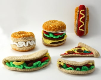 Fast Food Crochet Pattern Set, Fast Food Amigurumi, Crochet Fast Food Pattern, Hamburger, Hotdog, Pizza, Bagel, Taco Crochet Pattern