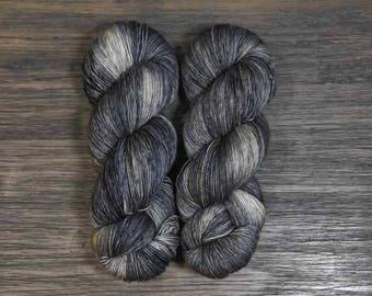 Hand Dyed Yarn- 'Thestral' Superwash Merino Single Ply Fingering Yarn black silver 475 yards