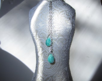 Handmade Sterling Silver and Amazonite Drop Necklace