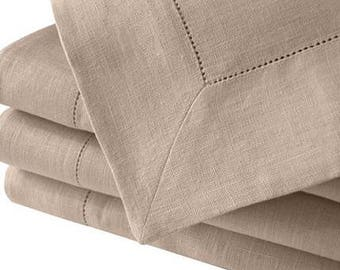 "Hemstitch 54"" Sq beige tablecloth"