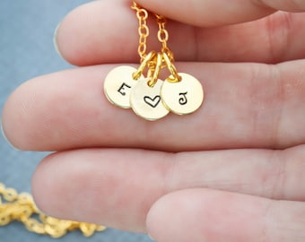 Gold Initial Necklace • Letter Handstamped Initial Charm Gold • Personalized Tiny Rose Gold Minimal Necklace • Dainty Initial Tag QQQ