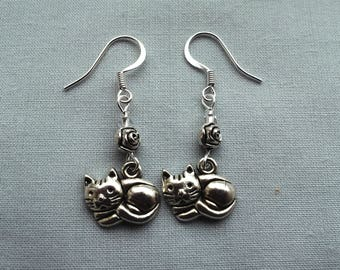 Cat earrings, silver plated, clips, screws, studs or hooks. Gift for her.