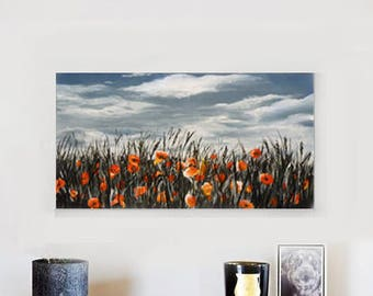 painting poppy, wall art, livingroom, landscape,flowers, red, black, acrylic painting