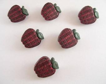 LOT 6 buttons: Apple green garnet 19mm