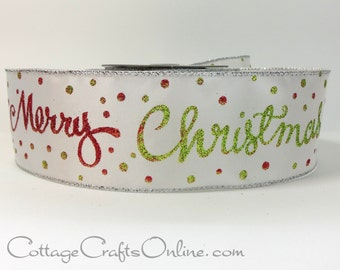 """Christmas Wired Ribbon, 2 1/2"""" Merry Christmas Greeting Glitter, Red, Green on White - TEN YARD ROLL - d. stevens Script Wire Edged Ribbon"""