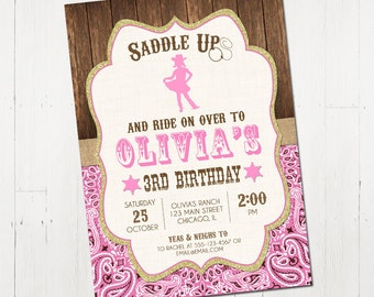 Cowgirl invitation etsy cowgirl birthday invitation western cowgirl birthdayinvitation cowgirl party invite pink cowgirl invitation printable invitation filmwisefo