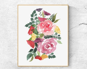 Abstract Pink Roses Bouquet Watercolor Print,Pink Roses Art, Nursery Art, Botanical Art Print, Abstract Wall Art, Modern Art, Floral Poster