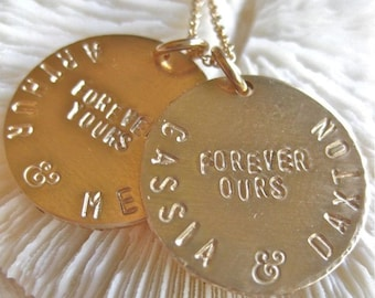 "Custom Family Necklace - ""FOREVER FAMILY"" Hand Stamped in Gold"