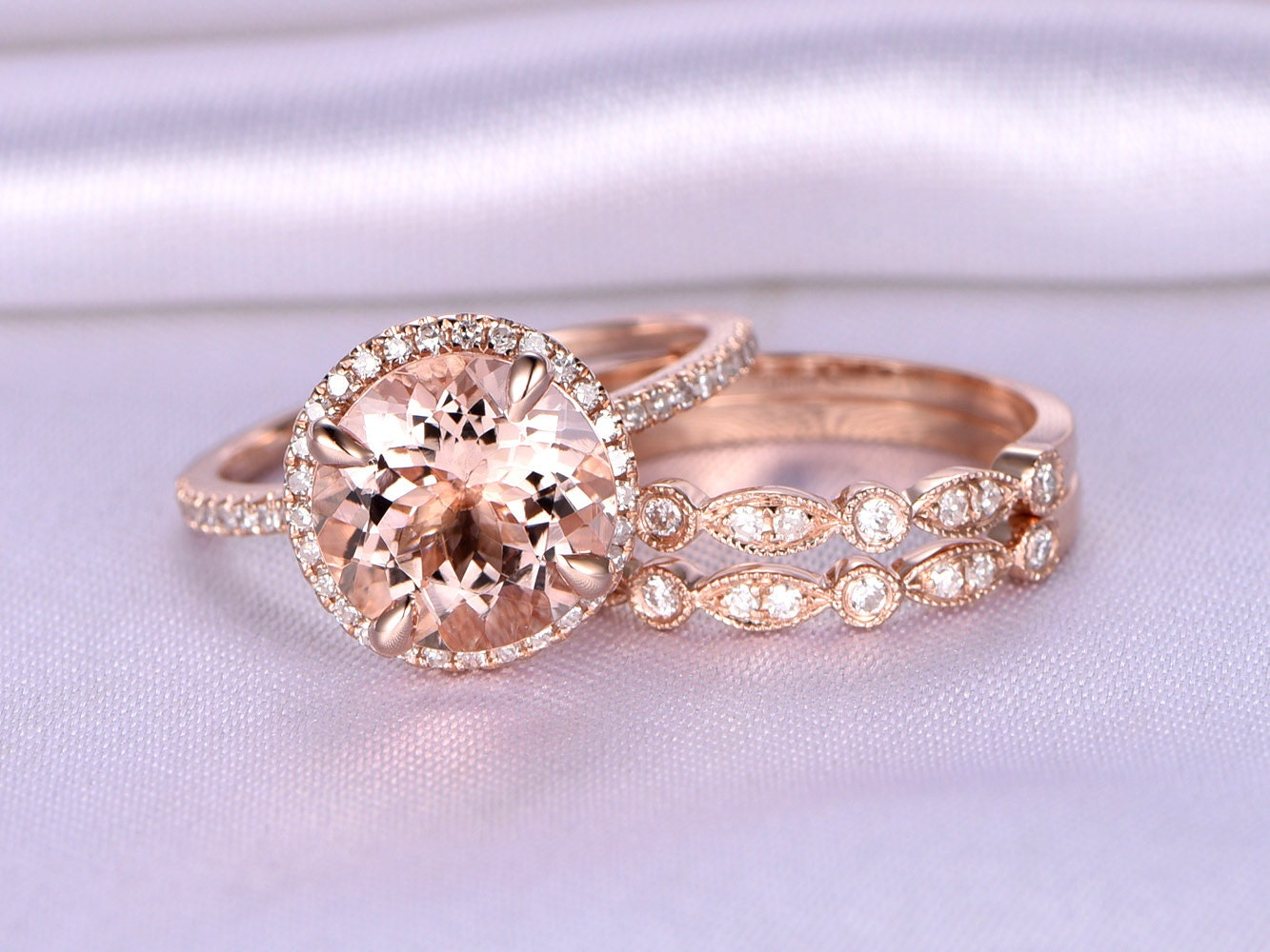Morganite Wedding Ring Set Morganite Engagement Ring 9mm Big