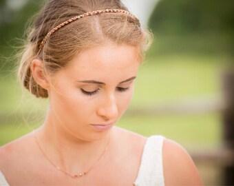 Bridal Headband - Rose Gold Headband - Headband - Wedding Hairband - Bridesmaid Headband - Bridal Hairpiece