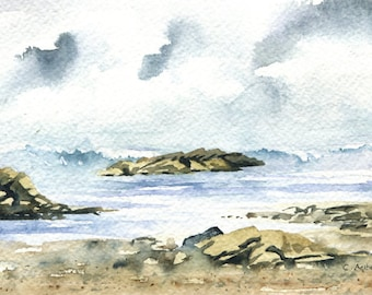 4 x 6 Seascape Original Watercolor Painting