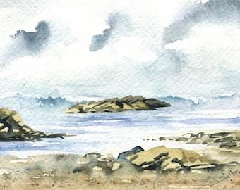 4 x 6 Seascape Original Watercolor Painting