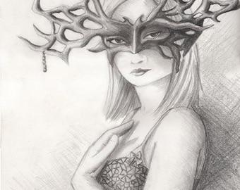 Mask Art Goddess Art Masquerade Art Fantasy Art Print Mardi Gras Art Halloween Art 11x14