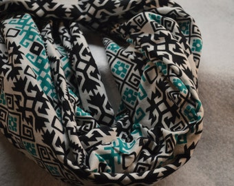 Black and Green Print Infinity Scarf