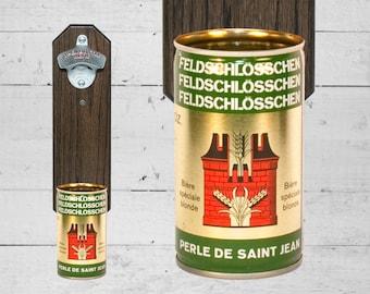 Wall Mount Bottle Opener with Vintage Feldschlosschen Beer Can Cap Catcher