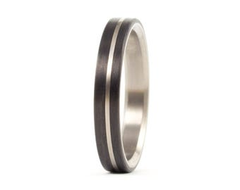 Women's titanium and carbon fiber ring. Unique black wedding band. Water resistant and hypoallergenic. (00318_4N)