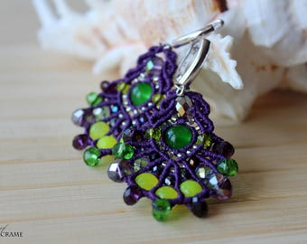 Purple micro macrame earrings| Multi color beaded jewelry| Original gifts for women| Dangle earrings| Sterling Silver ear wires| Summer time