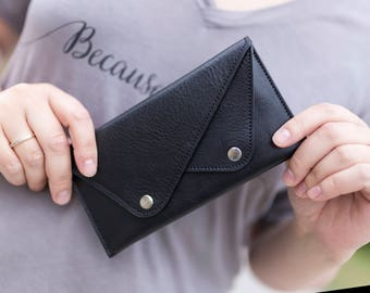 Slim leather wallet, black leather wallet, clutch