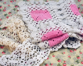 Lot of  Vintage Crochet Pieces  #411-AS