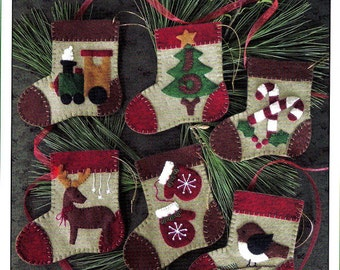 WARM FEET - Felt Kit to Make Six (6) Christmas Ornaments   BY: Rachel's of Greenfield