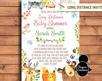 Lovely Woodland Long Distance Baby Shower Invitation. Woodland Girl Baby Shower.