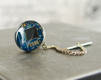 Circuit Board Tie Tack, Bright Blue, Wearable Technology, Engineer Gift, Geeky Computer Circuit Board Mens Jewelry, Technology Jewelry