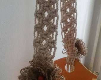 Macrame on Wooden Basket