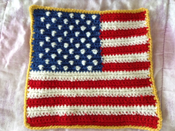 9 Inch Patriotic American Flag Crocheted Afghan Granny Square