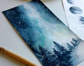 Original Watercolor landscape bookmark