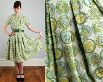 Vintage Green Coin Print Dress