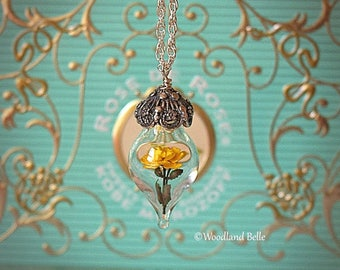Sunny Yellow Rose Flower Tiny Terrarium Necklace Glass Vial by Woodland Belle