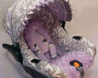 Grey Damask Lilac Stripe Rosette Minky Infant Car Seat Cover 5