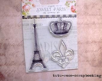 Swett PARIS Shabby Chic clear stamps 3 EIFFEL Tower Crown Fleur de lis
