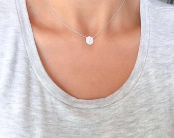 Pave disc necklace. Silver disc necklace. CZ disc necklace. Silver Round necklace. High quality silver necklace