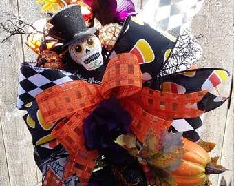 Day of the Dead Lantern Swag, Halloween Lantern Swag, Fall Lantern Swag, Fall Lantern Decor, Holiday Lantern Swag