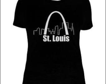 St. Louis Skyline T-Shirt, St. Louis Gateway Arch T-Shirt, St. Louis Rhinestone Skyline Women's T-shirt