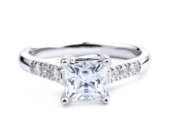 Princess Cut Diamond Engagement Ring in 14K White Gold