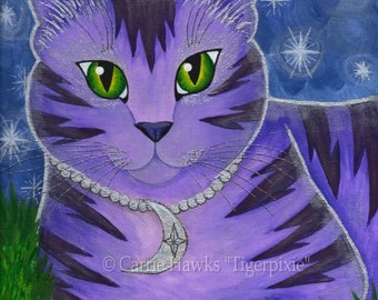 Moon Cat Art Cat Painting Stars Purple Cat Celestial Fantasy Cat Art Limited Edition Canvas Print 11x14 Art For Cat Lover