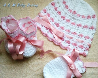 baby hat, mittens and booties