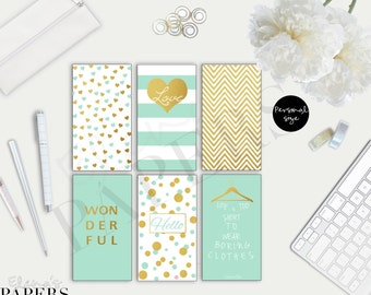 Printable Personal dividers GOLD & MINT style