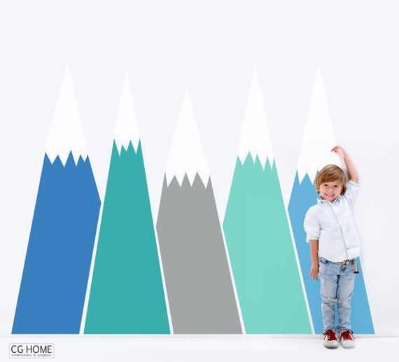 Mountains Wall Decals Headboard Removable Wall Sticker for Kids Toddlers Baby Room Decals Washable Wall Art Wall Decal #mountains011
