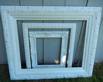 Antique Frames - Shabby Painted Frames - Gallery Wall Frames - Wedding Decor - French Country Frames - Photo Props - Vintage Frames