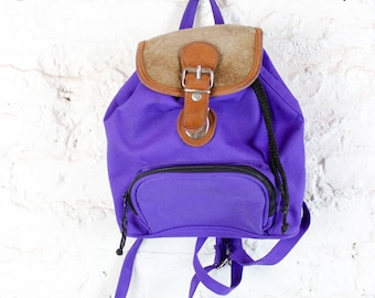 90's Neon Purple and Leather Mini Backpack with Pockets and Buckles . Tiny Small Day Glo Back Pack 1990s One or Double Adjustable Strap