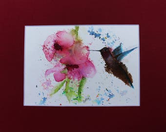 Peach Blossoms With Hummingbird