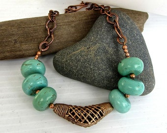 Rustic NECKLACE ~ brass turquoise magnesite ~ big bold statement necklace ~ matching earrings available
