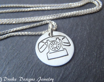 sterling silver vintage telephone necklace retro phone
